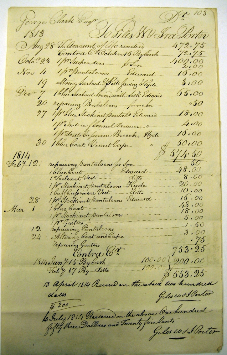 1813-1814 Tailor's bill for work on G Clarke and sons clothing