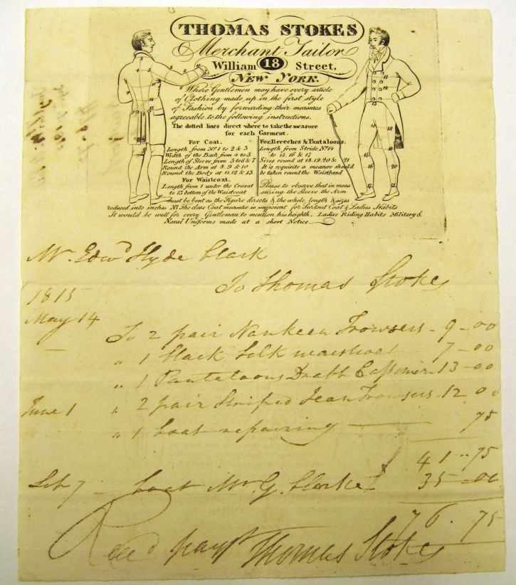 1815 tailor's bill for Edw Hyde Clarke with great graphics