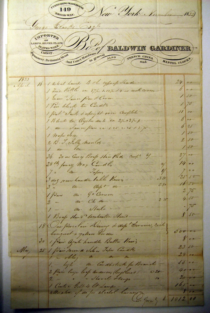 1833 Baldwin & Gardiner receipt for porcelain, vapor burners, & more