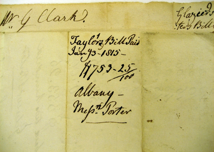 G Clarke's notation for paying 1813 tailor's bill