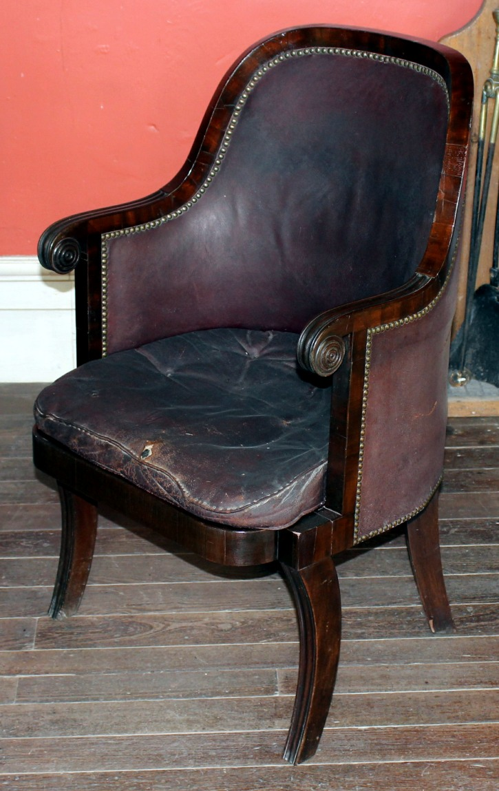Upholstered armchairs were generally identified as easy chairs from the 18th century because of their comfort relative to other chairs with wooden backs or arms.  A low cushioned version with a continuously upholstered back and arms developed in early 18th century France and was given the evocative name of bergère. [link to blog]
