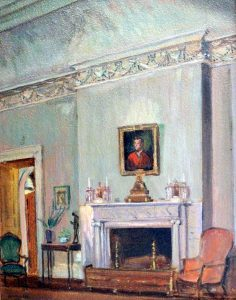 "Drawing Room fireplace of the Great House, at Hyde Hall  Henry Oothout Milliken (1884-1945)  Oil on board 15.5"" x 11.5""  Inscribed lower right: ""H O Milliken 1932"""