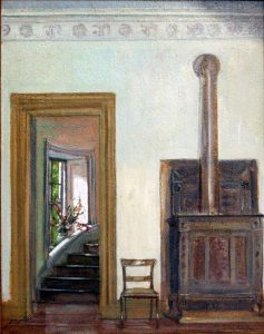 "Entrance Hall of the Great House at Hyde Hall  Henry Oothout Milliken (1884-1945)  Oil on board 15.5"" x 11.5""  Inscribed lower right: ""H O Milliken 1932"""