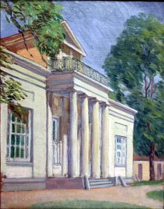 "Exterior Portico of the Great House at Hyde Hall  Henry Oothout Milliken (1884-1945)   Oil on board 15.5"" x 11.5""   Inscribed lower right: ""H O Milliken 1932"""