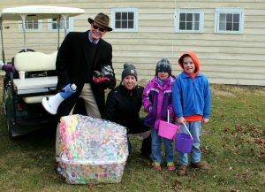 Jon Maney & Mary T Clarke with Payton and Latham McCord from Schuyler Lake, winners of the LRFCU Easter Basket