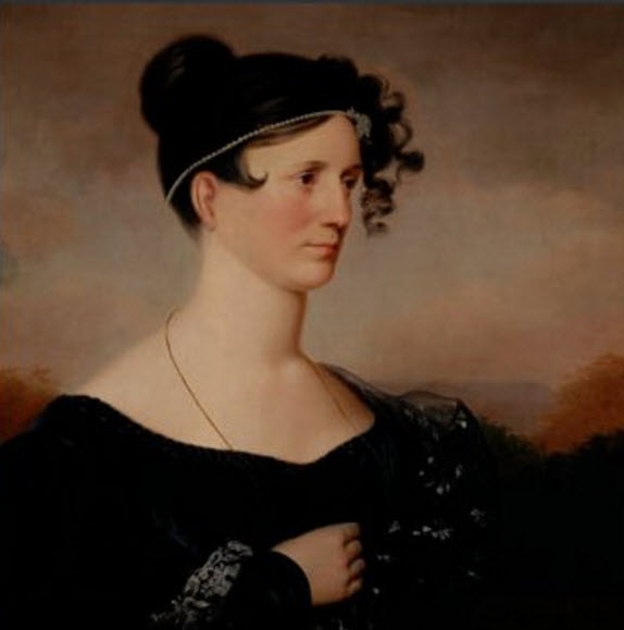 Commissioned in 1835 from the artist Charles Cromwell Ingham, this portrait of Hyde Hall's first chatelaine, Ann Low Cary Cooper Clarke (circa 1780 — 1850), is an idealized image of her as a young woman, arguably around the time she married George the Builder in 1814.