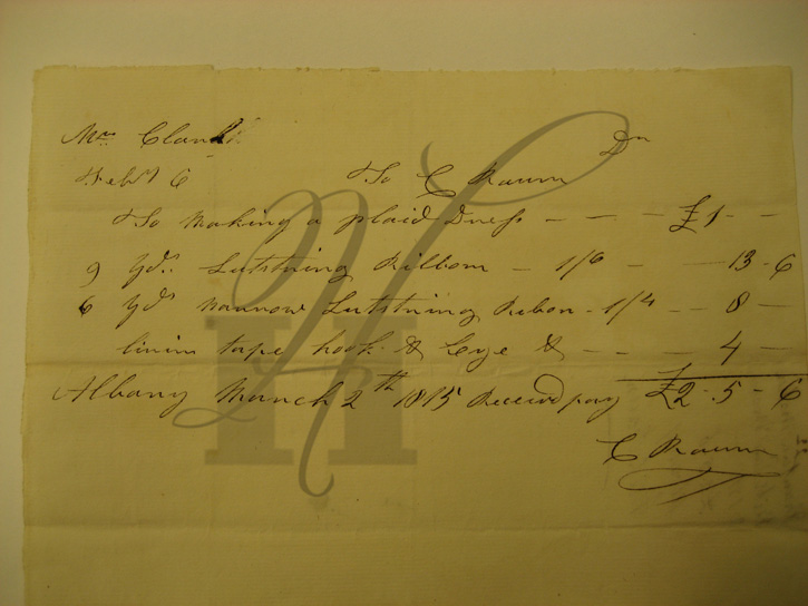 1815 receipt for Mrs. Clarke plaid dress with lustring ribbon