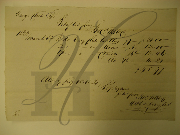 1833 receipt for wine glasses from Webb