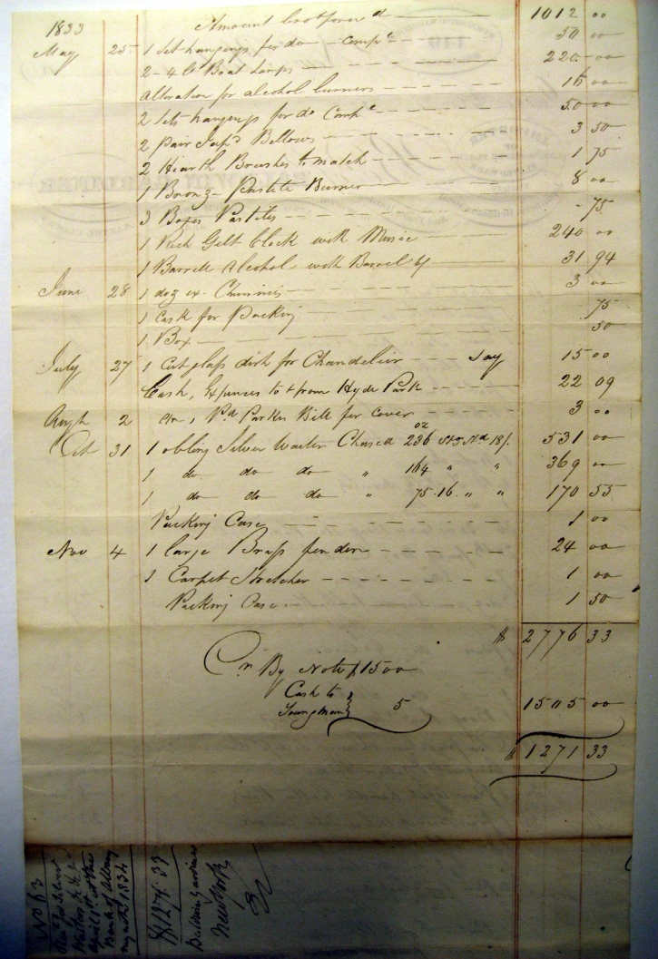 1833 Receipt for Musical Clock, Chandelier parts, & more from Baldwin & Gardiner