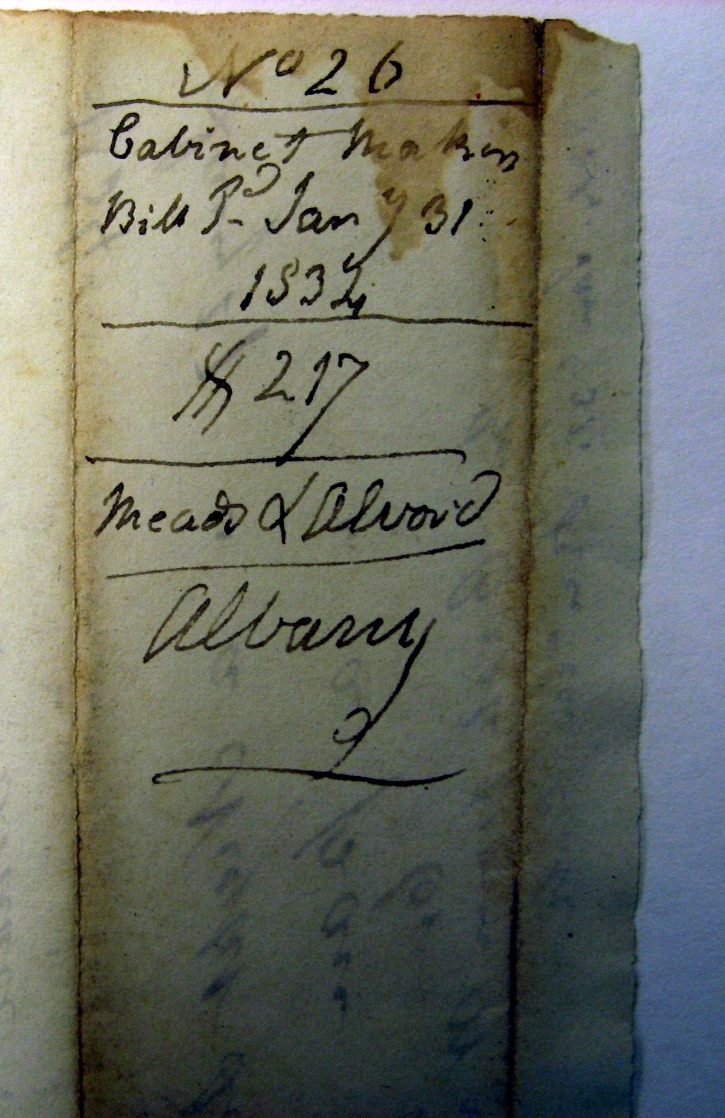 G Clarke's notation for paying Meads in 1834 for center table~etc